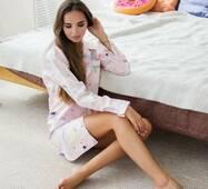 Піжама-сорочка з принтом клітина (рожевий)