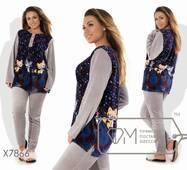 Домашній костюм з велюру - пряма туніка з малюнком, однотонними рукавами і застібкою-поло плюс приталені штани з лампасами X7866