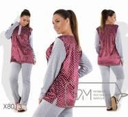 Домашній костюм з велюру - туніка з принтованной основою, розрізами з боків і вирізом на застібці плюс прямі штани X8013