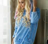 Уютное домашнее платье Зайка (голубой)