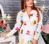 Піжама-сорочка з принтом мороженко (білий)
