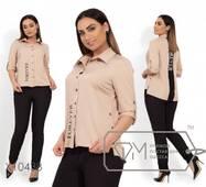 Комплект: сорочка із стоячки-відкладним коміром і рукавами на патиках, з контрастною вставкою по спинці, брюки середньої посадки, завужені X104