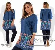 Костюм-двійка з брюками з двунитки і подовженою кофтою з літнього джинса з V- образним вирізом, застібкою по усій довжині з вишивкою на подолі