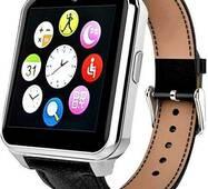 Смарт часы Smart Watch W90 Silver Edition с Камерой и кожаным ремнём