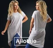 Подовжена футболка жіноча з асиметрією, батал р. 48-50, 52-54 Ajiotaje XL