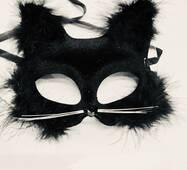 Маска Карнавальная Кошка с мехом