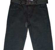 Джинсы для мальчика на флисе, черного цвета