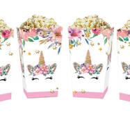 Коробки для сладостей и попкорна Единорог цветы (5 штук)