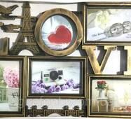 Фоторамка коллаж на 5 фото LOVE, бронза