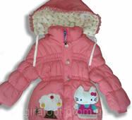 """Пальто на хутрі """"Hello Kitty"""", на 2-4 років (у зростання. 3 шт.)"""