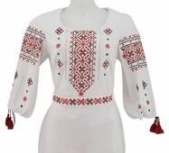 Приталенная женская вышиванка с игривой прикарпатской вышивкой купить в Украине