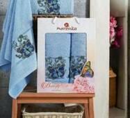 "Набор турецких полотенец Merzuka Cotton Butterfly 2-ка""голубой"""