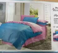 Семейный комплект постельного белья  однотонного сатина с 4 наволочками