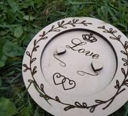 Блюдце з дерева для обручок з гравіюванням