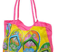 Сумка пляжна текстиль Шльопання. Велика жіноча тканинна сумка на пляж