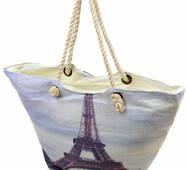 Сумка пляжна текстиль Париж. Велика жіноча біла тканинна сумка на пляж