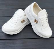 Белые кожаные кроссовки для девочки, 36