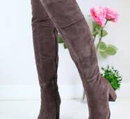 Женские зимние замшевые ботфорты с обтянутым каблуком