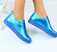 Женски синие кожаные кеды 39