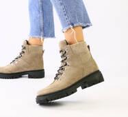 Женские зимние замшевые ботинки, цвет капучино, на шнурках
