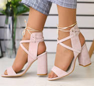 Женские замшевые босоножки на удобном каблуке 36
