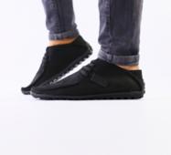 Мужские черные мокасины, кожа мустанг, на шнурках 40
