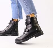 Женские зимние кожаные черные ботинки