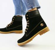 Зимние черные ботинки из нубука 39