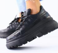 Женские кожаные кроссовки черные 36
