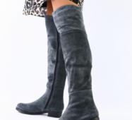 Женские зимние серые замшевые ботфорты