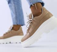 Женские кожаные кроссовки бежевые 40
