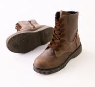 Зимние кожаные коричневые ботиночки
