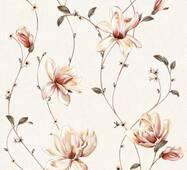 Шпалери паперові Континент Мару ясно-бежевий фон темні квіти 1290