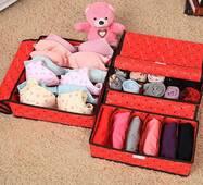 Набор з трьох органайзерів для зберігання нижньої білизни, шкарпеток, хусток червоний