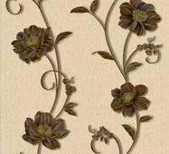 Шпалери паперові Континент Деми коричневі квіти бежевий фон 1263