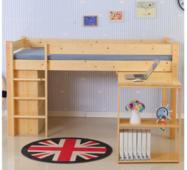Кровать-чердак с выдвижным столом и стеллажом