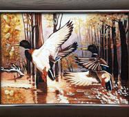 """Картина з бурштину """"Полювання. Дикі качки"""" 30 х 40 см"""