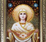 Икона Божьей Матери Покрова из янтаря 20х30 см без стекла