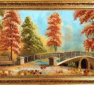 """Картина із бурштину """"Осінь у парку"""" 30x60 см"""
