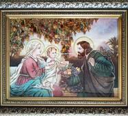 """Икона из янтаря """"Святое семейство"""" 30х40 см в стекле"""