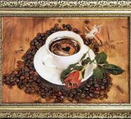 "Картина из янтаря ""Кофе и роза"""