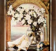 """Картина з бурштину """"Голуби і троянди"""" 30 х 40 см"""