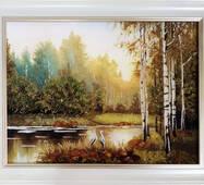 """Картина із бурштину """"Озеро і лелеки"""" 30х40 см"""