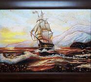 """Картина з бурштину """"Море"""" 30 х 40 см"""