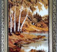 "Картина из янтаря ""Березы у реки"" 20х30 см"