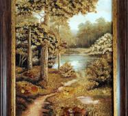 "Картина из янтаря ""Лесное озеро"" 30х40 см"