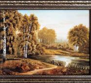 """Картина із бурштину """"Озеро в лісі"""" 30 x 40 см"""