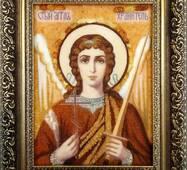 Икона Ангела Хранителя из янтаря 15х20 см без стекла