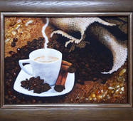 "Картина із бурштину ""Натюрморт кава"""