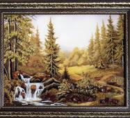 "Картина из янтаря ""Горный водопад"" 30х40 см"
